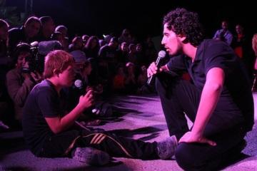 Bryan MacCormick   A Freedom Theatre Actor Talks with a Boy in Nabi Saleh